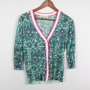 Ann Taylor LOFT Women's Cardigan 3/4 Sleeve Green